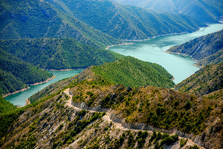 Hilltop view of Lake Kozjak in Macedonia