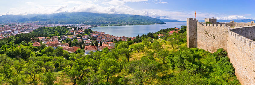 Panoramic view of Ohrid with view of the lake and Samoil's fortress