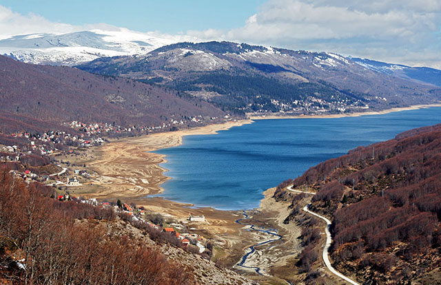 Mountain view of the lake in Mavrovo