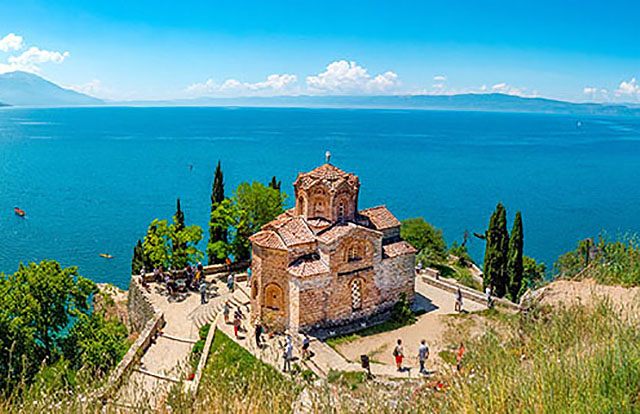 Church of St. John at Kaneo, Ohrid with a view towards the lake