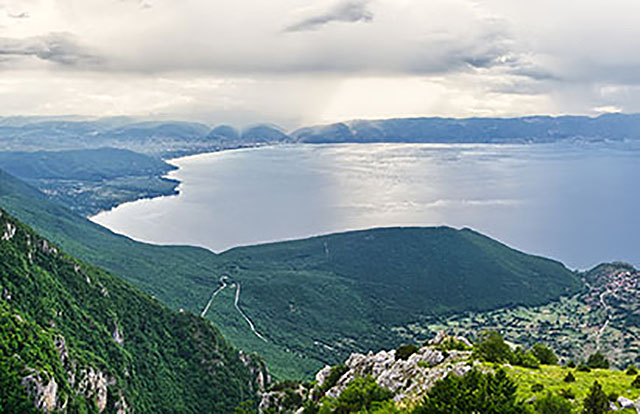 View of lake Ohrid from mountain top