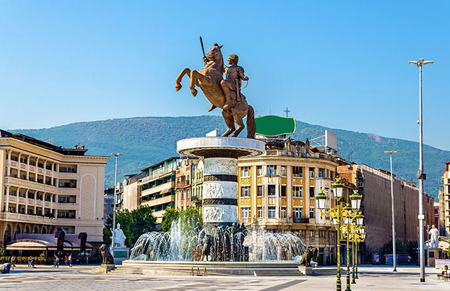 Skopje main square and the fountain of Alexander the Great on top of it